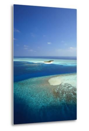 Aerial View of Tropical Island and Lagoon, Maldives, Indian Ocean, Asia-Sakis Papadopoulos-Metal Print