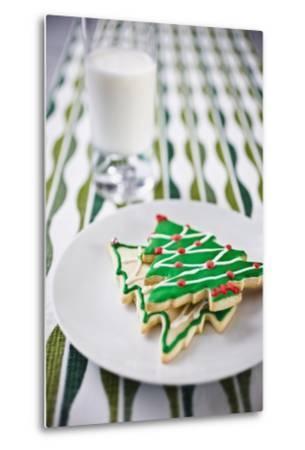 Christmas Cookies and Milk--Metal Print