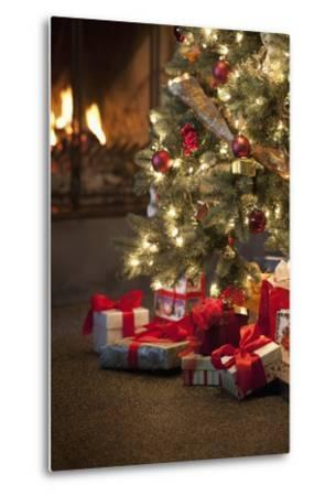 Christmas Tree by Fireplace--Metal Print