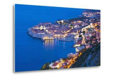 Dubrovnik Old Town at Night, Taken from Zarkovica Hill, Dalmatian Coast, Adriatic, Croatia, Europe-Matthew Williams-Ellis-Metal Print