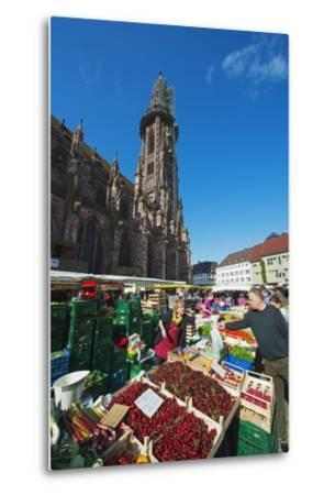 Saturday Market, Freiburg Cathedral, Freiburg, Baden-Wurttemberg, Germany, Europe-Christian Kober-Metal Print