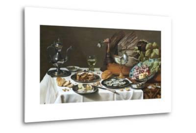 Still Life with Turkey Pie-Pieter Claesz-Metal Print