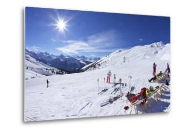 Skiers Relaxing at Cafe in Winter Sunshine, Verdons Sud, La Plagne, French Alps, France, Europe-Peter Barritt-Metal Print