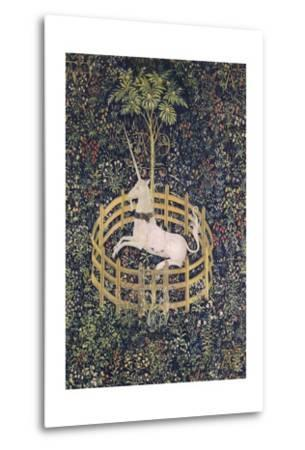 The Unicorn in Captivity Tapestry--Metal Print