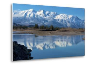 Cinquefoil Mountain Reflects in the Athabasca River, Jasper National Park, Canada-Richard Wright-Metal Print