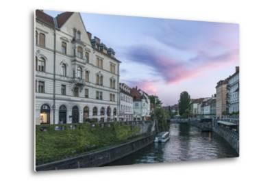 Ljubljana River Sunset-Rob Tilley-Metal Print