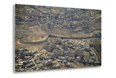 Aeriel View of the Wall Dividing Israel from the West Bank to Prevent Terror Attacks-Hal Beral-Metal Print