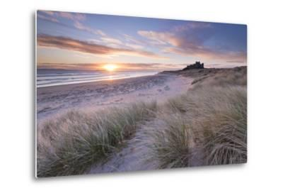 Sunrise over Bamburgh Beach and Castle from the Sand Dunes, Northumberland, England. Spring (March)-Adam Burton-Metal Print