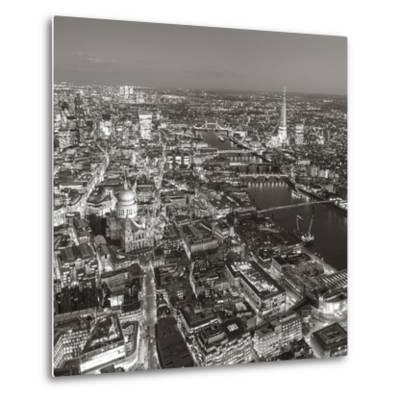 Night Aerial View of the Shard and City of London, London, England-Jon Arnold-Metal Print
