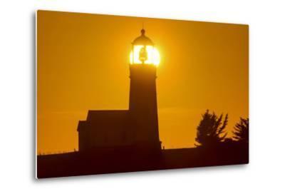 Setting Sun Behind Oregons Oldest Lighthouse at Cape Blanco Sp, Oregon-Chuck Haney-Metal Print
