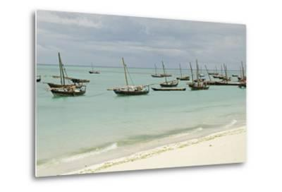 Tanzania, Zanzibar, Nungwi, Traditional Fisherman Boat on White Beach-Anthony Asael-Metal Print