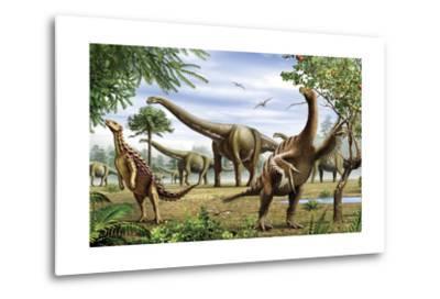 Scelidosaurus, Nothronychus and Argentinosaurus Dinosarus Grazing on Leaves-Stocktrek Images-Metal Print
