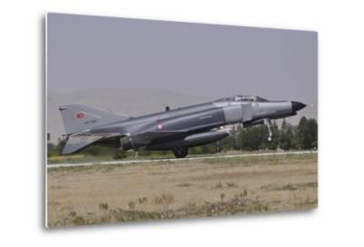 A Turkish Air Force F-4E 2020 Terminator Landing at Konya Air Base, Turkey-Stocktrek Images-Metal Print
