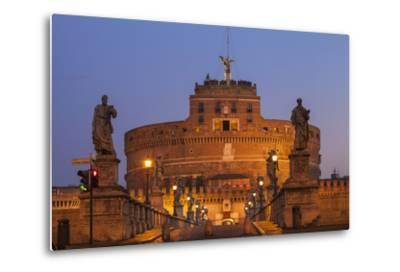 Italy, Lazio, Rome, View of St. Angelo Bridge and Castle St. Angelo (Hadrian's Mausoleum)-Jane Sweeney-Metal Print