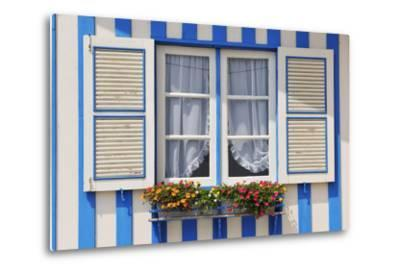 Window of a Traditional Striped Painted House in the Little Seaside Village of Costa Nova, Portugal-Mauricio Abreu-Metal Print