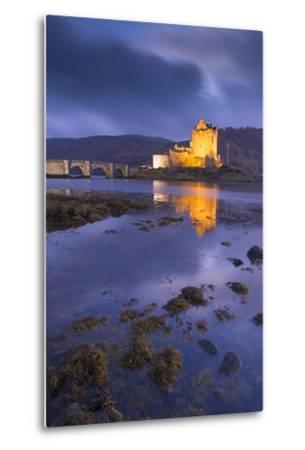 Eilean Donan Castle on Loch Duich at Twilight, Western Highlands, Scotland. Autumn (November)-Adam Burton-Metal Print