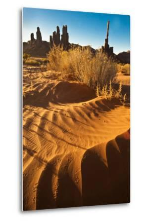 USA, Utah, Monument Valley. Totem Pole Formation and Sand Dunes-Jaynes Gallery-Metal Print