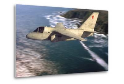 S-3 Viking Flying over San Diego, California-Stocktrek Images-Metal Print