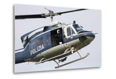 An Agusta Bell 212 of Italy's State Police in Flight over Italy-Stocktrek Images-Metal Print