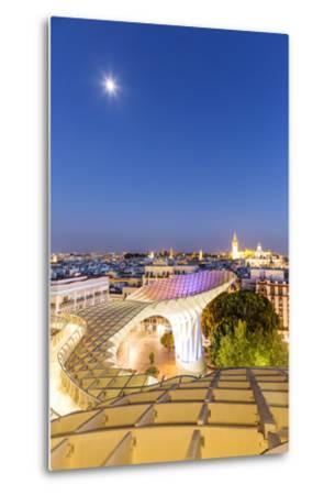 Spain, Andalusia, Seville. Metropol Parasol Structure and City at Dusk-Matteo Colombo-Metal Print