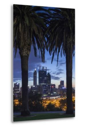 Australia, Perth, City Skyline from Kings Park, Dawn-Walter Bibikow-Metal Print