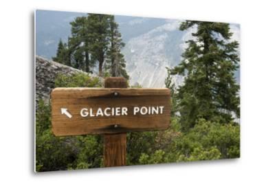 USA, California, Yosemite National Park, Glacier Point Directional Sign-Bernard Friel-Metal Print