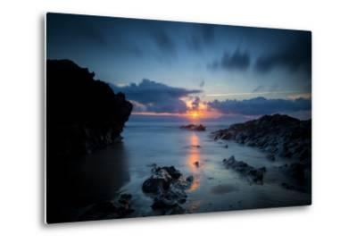 Sunset over the Rocks,Cornish Coast Near Newquay, Cornwall, England-Brian Jannsen-Metal Print
