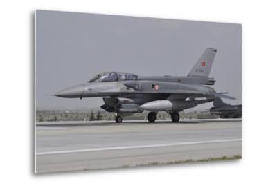 A Turkish Air Force F-16C Block 52+ at Konya Air Base, Turkey-Stocktrek Images-Metal Print