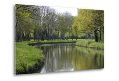 France, Loire. Canal Winding Through Spring Trees and Foliage-Kevin Oke-Metal Print