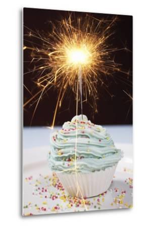 Single Cupcake with Lit Sparkler--Metal Print