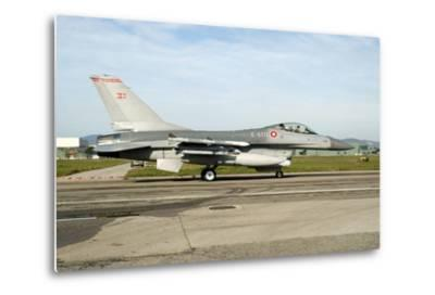 F-16A Mlu Falcon from the Royal Danish Air Force Taxiing at Grosseto Air Base-Stocktrek Images-Metal Print