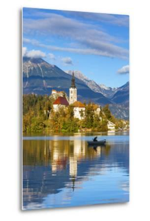 Bled Island with the Church of the Assumption and Bled Castle Illuminated at Dusk, Lake Bled-Doug Pearson-Metal Print