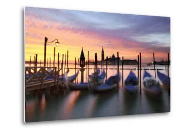 Italy, Venice. Gondolas Moored on Riva Degli Schiavoni at Sunrise-Matteo Colombo-Metal Print