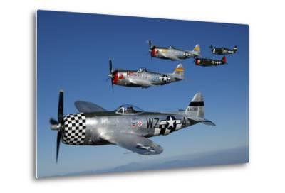 Formation of P-47 Thunderbolts Flying over Chino, California-Stocktrek Images-Metal Print
