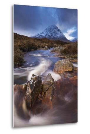 Highland Stream Running Through Rannoch Moor Towards Buachaille Etive Mor Mountain, Scotland-Adam Burton-Metal Print