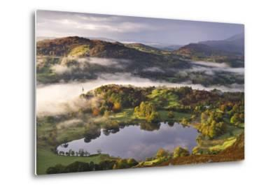 Loughrigg Tarn Surrounded by Misty Autumnal Countryside, Lake District, Cumbria-Adam Burton-Metal Print