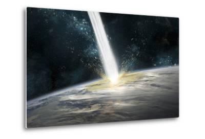 A Comet Strikes Earth-Stocktrek Images-Metal Print