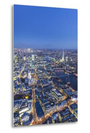 Night Aerial View of St. Paul'S, the Shard, River Thames and City of London, London, England-Jon Arnold-Metal Print