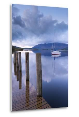 Yacht Moored Near Lodore Boat Launch on Derwent Water, Lake District, Cumbria-Adam Burton-Metal Print