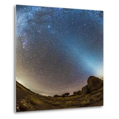 Comet Lovejoy and Zodiacal Light in City of Rocks State Park, New Mexico-Stocktrek Images-Metal Print