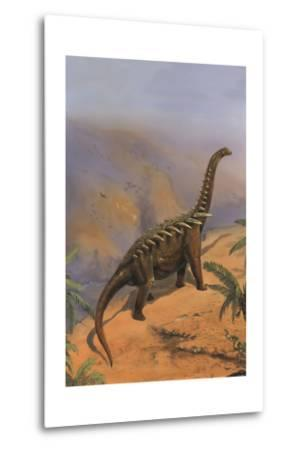 Agustinia Dinosaur Walking Along the Edge of a Cliff-Stocktrek Images-Metal Print