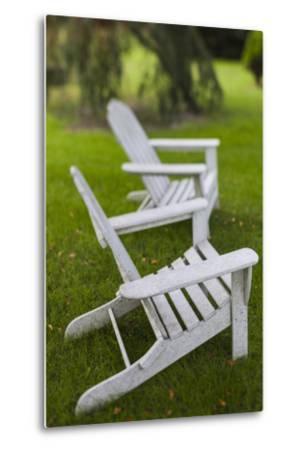 North Carolina, Outer Banks Seashore, Corolla, Adirondack Lawn Chairs-Walter Bibikow-Metal Print