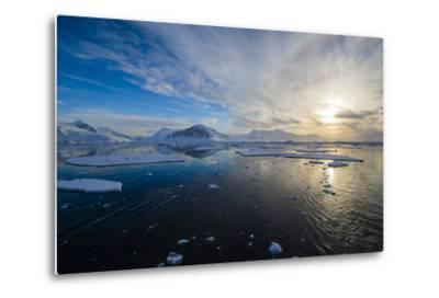 Antarctica. Near Adelaide Island. the Gullet. Ice Floes at Sunset-Inger Hogstrom-Metal Print