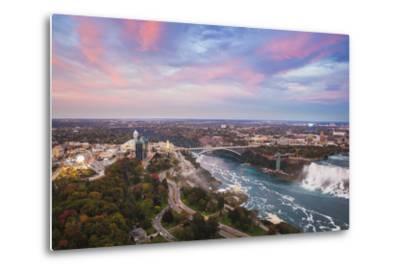 View over Victoria Park Towards Rainbow Bridge and the American Falls, Niagara Falls-Jane Sweeney-Metal Print