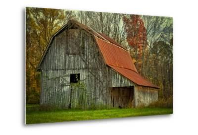 USA, Indiana. Rural Landscape, Vine Covered Barn with Red Roof-Rona Schwarz-Metal Print