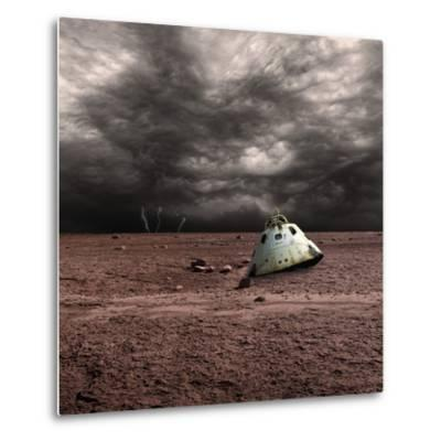 A Scorched Space Capsule Lies Abandoned on a Barren World-Stocktrek Images-Metal Print