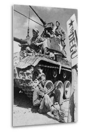 U.S. Soldiers Guard a Roadblock on the Naktong River Front in the Taegu Area with an M-24 Tank--Metal Print