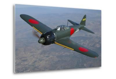 A6M Japaneese Zero Flying over Chino, California-Stocktrek Images-Metal Print