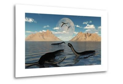 A Group of Plesiosaurs Relaxing on a Jurassic Day-Stocktrek Images-Metal Print