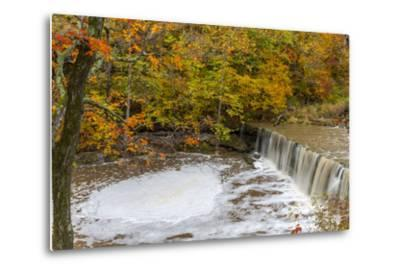 Anderson Falls on Fall Fork of Clifty Creek in Autumn, Indiana-Chuck Haney-Metal Print